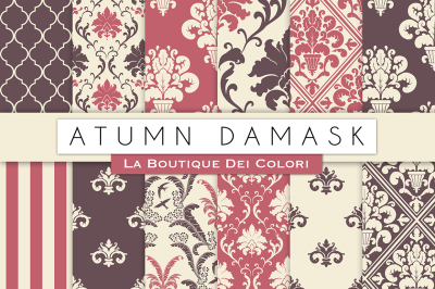 Autumn Damask Digital Paper