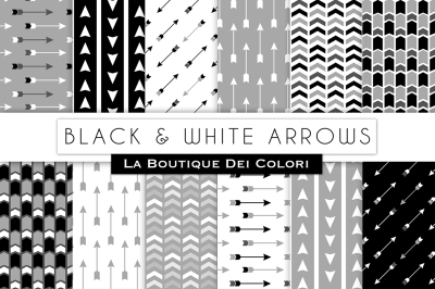 Black and White Arrow Digital Papers
