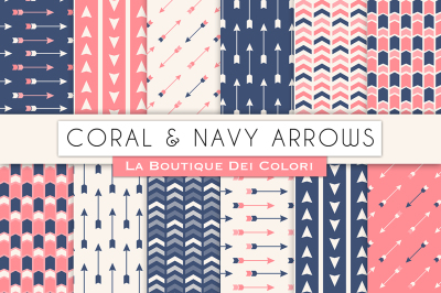 Coral and Navy Arrow Digital Papers