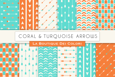 Coral and Turquoise Arrow Digital Papers