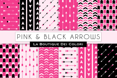 Pink and Black Arrow Digital Papers