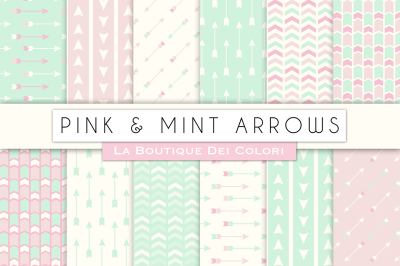 Pink and Mint Arrow Arrow Digital Papers