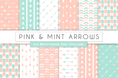 Pink and Mint Arrow Digital Papers