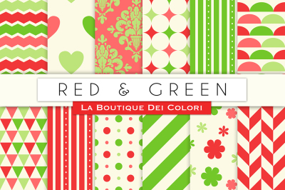Red and Green Digital Papers