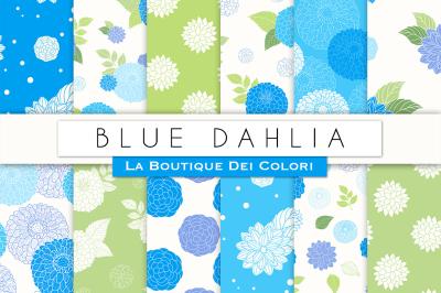 Blue Dahlia Flower Digital Papers