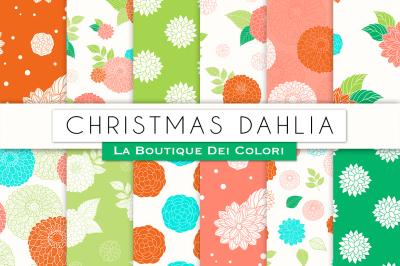 Christmas Dahlia Flower Digital Papers