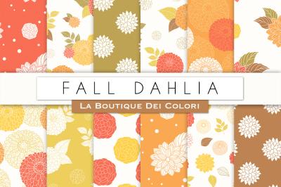 Fall Dahlia Flower Digital Papers