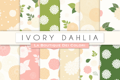 Ivory Dahlia Flower Digital Papers