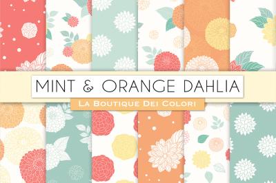 Mint and Orange Dahlia Flower Digital Papers