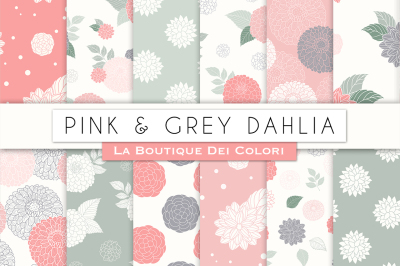 Pink and Grey Dahlia Flower Digital Papers