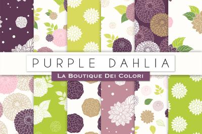 Purple Dahlia Flower Digital Papers