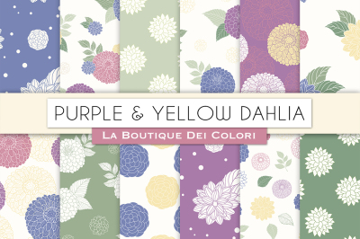Purple and Yellow Dahlia Flower Digital Papers