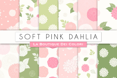 Soft Pink Dahlia Flower Digital Papers
