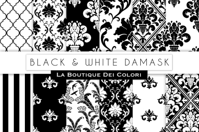 Black and White Damask Digital Papers