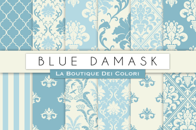 Blue Damask Digital Papers