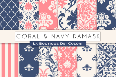 Coral and Navy Damask Digital Papers