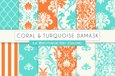 Coral and Turquoise Digital Papers