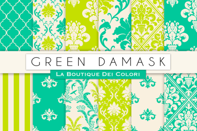 Green Damask Digital Papers