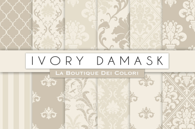 Ivory Damask Digital Papers