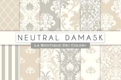 Neutral Damask Digital Papers