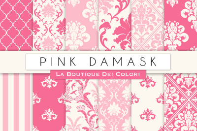 Pink Damask Digital Papers