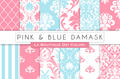 Pink and Blue Damask Digital Papers