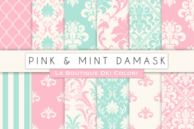 Pink and Mint Damask Digital Papers