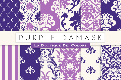 Purple Damask Digital Papers