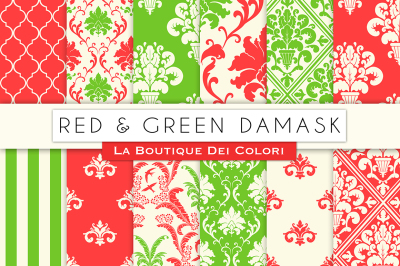 Red and Green Damask Digital Papers