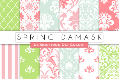 Spring Damask Digital Papers