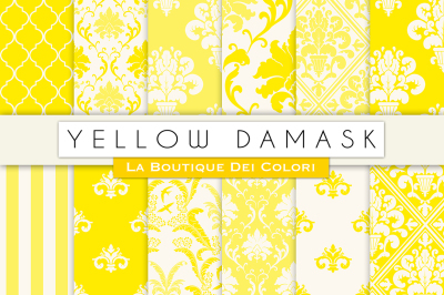Yellow Damask Digital Papers