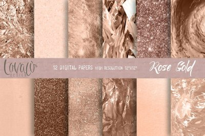 Luxury Rose Gold Digital Papers