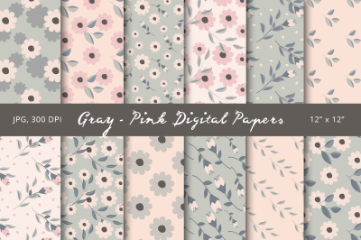 Gray - Pink Digital Papers