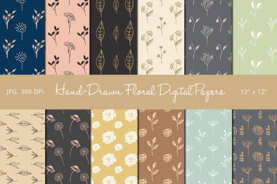 Hand Drawn Floral Digital Papers