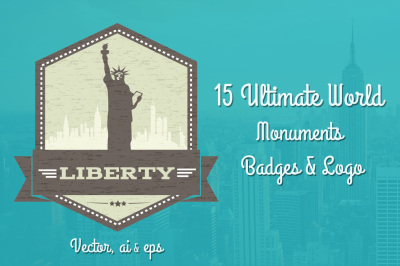 15 Ultimate World Monument badges Vector