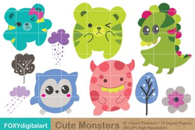 Cute Monster Clipart & Digital Paper Scrapbook