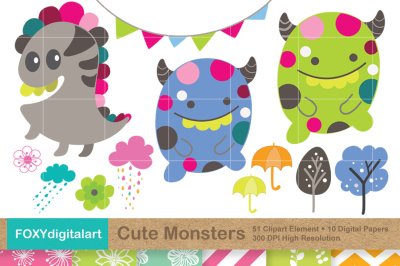 Cute Monsters Clipart and 10 Papers Scrapbook