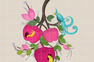 Apple and Worm Clipart Set Scrapbook