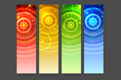 Abstract vertical banners with circles and stars