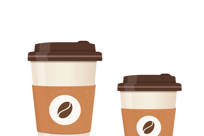 Realistic paper coffee cup set. Large and small sizes. Coffee take away. Vector illustration.