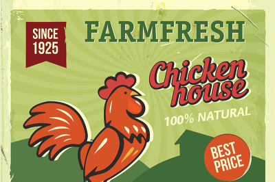 Grunge retro metal sign with chicken. Vintage advertising poster. Farm fresh. Old fashioned design.