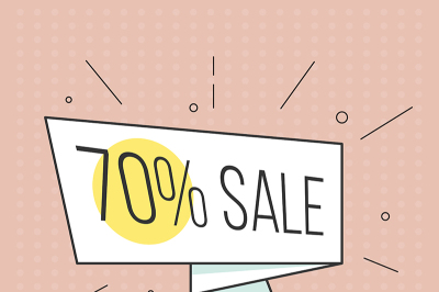 big sale banner. Retro comic style. Vector illustration. Vintage bubble on the red background.