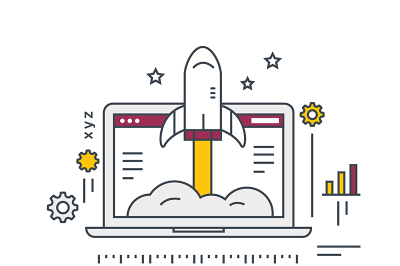 Business Startup illustration. Rocket and laptop. Line vector icon