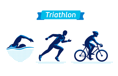 Triathlon logos or badges set. Vector figures triathletes on a white background. Swimming, cycling and running man. Flat silhouettes