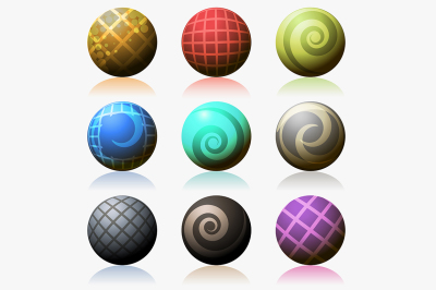 set of various color glossy sphere isolated on white