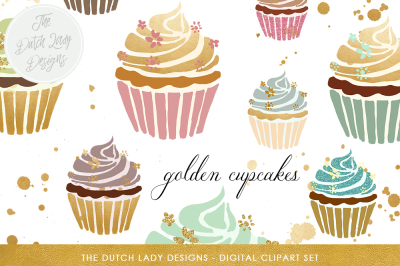 Cupcake Clipart Set In Gold & Pastel