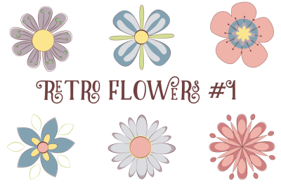 Retro Pastel Flowers (PNG & JPEG)