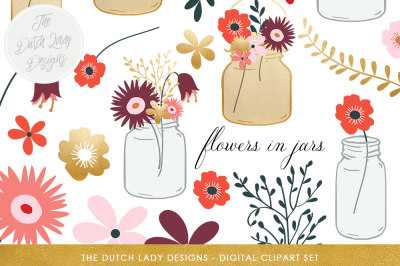 Flowers & Mason Jar Clipart Set