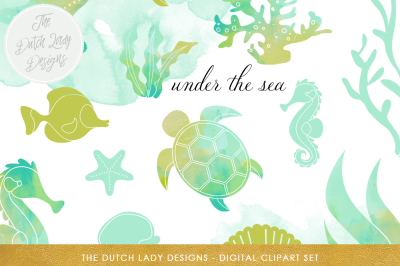 Sea Life Clipart Set In Aqua & Lime