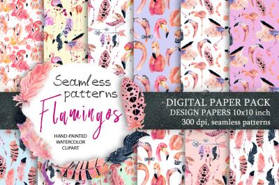 Digital paper Seamless pattern Flamingo clipart watercolor